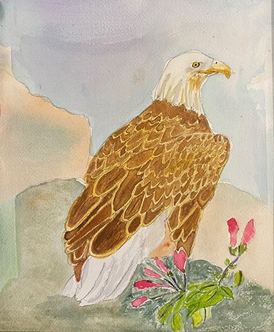 Ferne Young, Regal Eagle, watercolor, $60