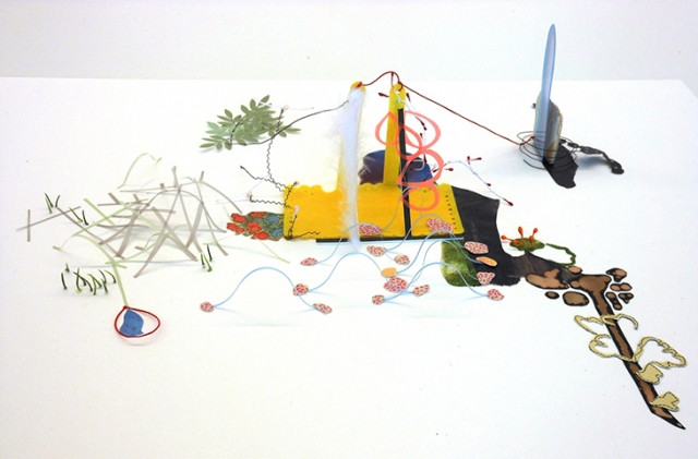 3rd Place Award: Ajean Ryan, If Still Standing, ink, acrylic, assorted papers, and string on paper, NFS
